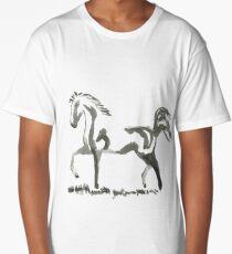 Sumi-e Horse Large Print Long T-Shirt