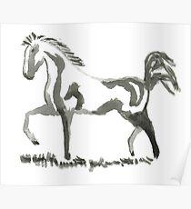 Sumi-e Horse Large Print Poster