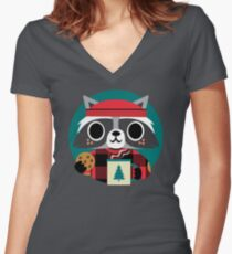 Raccoon in Red Buffalo Plaid Sweater Women's Fitted V-Neck T-Shirt