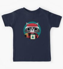 Raccoon in Red Buffalo Plaid Sweater Kids Tee