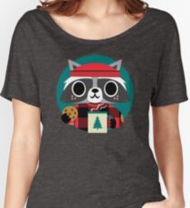 Raccoon in Red Buffalo Plaid Sweater Women's Relaxed Fit T-Shirt