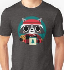 Raccoon in Red Buffalo Plaid Sweater Unisex T-Shirt