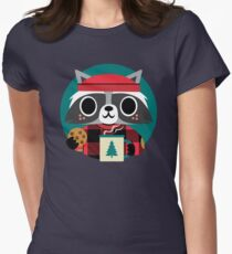 Raccoon in Red Buffalo Plaid Sweater Women's Fitted T-Shirt