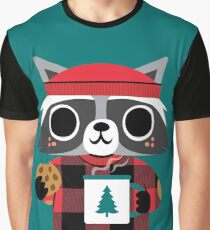 Raccoon in Red Buffalo Plaid Sweater Graphic T-Shirt