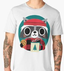 Raccoon in Red Buffalo Plaid Sweater Men's Premium T-Shirt