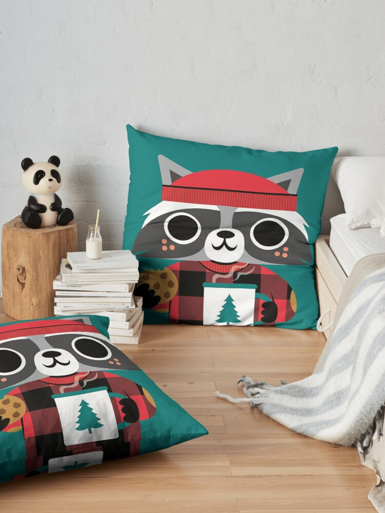 Alternate view of Raccoon in Red Buffalo Plaid Sweater Floor Pillow