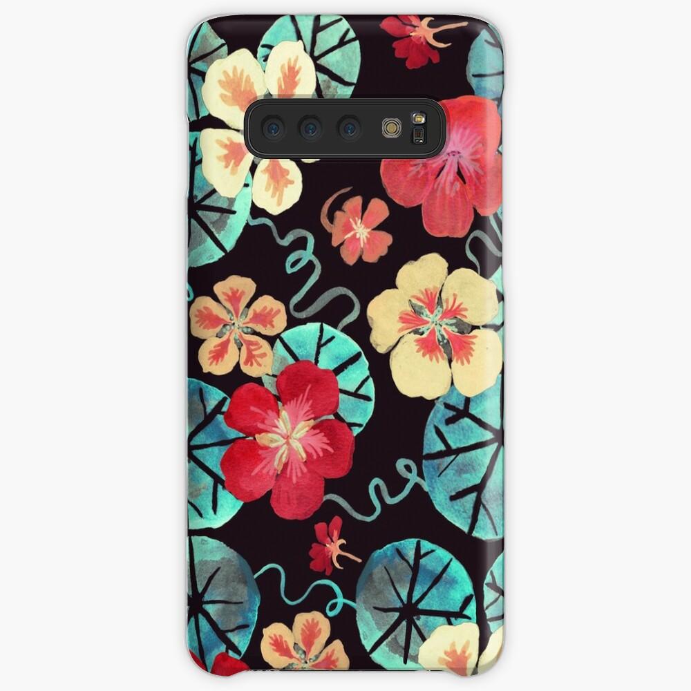 Watercolor Garden Nasturtiums Dark Floral Pattern Case Skin
