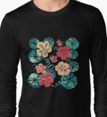 Watercolor Garden Nasturtiums. Dark Floral Pattern Long Sleeve T-Shirt