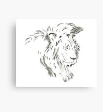 Sumi-e Lion Large Print Canvas Print