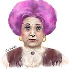 Funny Looking Old Lady with Crazy Pink Wig  by ibadishi
