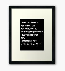 Read, Write, or Reblog Bagginshield Framed Print