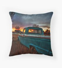 Old Truck and Sunset Throw Pillow