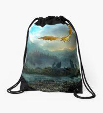 Golden Dragon Mountain Drawstring Bag