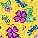 Dragonfly and Pansy Yellow by Kristin Omdahl