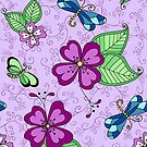 Dragonfly and Pansy Lilac by Kristin Omdahl
