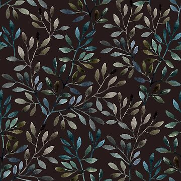 Midnight Watercolor Leaves Pattern by SpiceTree