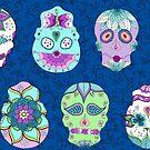 Blue Sugar Skulls by Kristin Omdahl