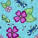 Dragonfly & Pansy Turquoise by Kristin Omdahl
