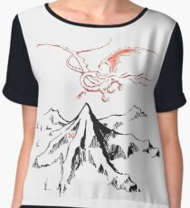 Red Dragon Above A Single Solitary Peak - Fan Art Women's Chiffon Top