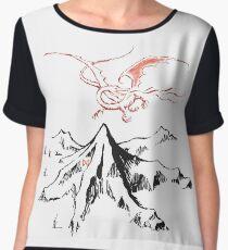 Red Dragon Above A Single Solitary Peak - Fan Art Chiffon Top