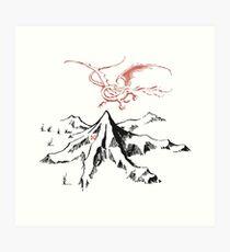 Roter Drache über einer einzelnen einsamen Spitze - Fan Art Kunstdruck