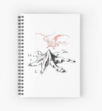 Red Dragon Above A Single Solitary Peak - Fan Art Spiral Notebook