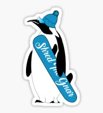 AnimalCreations Shred the Gnar Cartoon Penguin Sticker