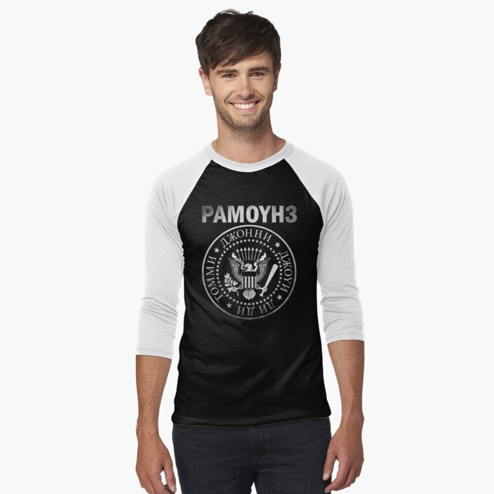 RAMONES Russian Logo Men's Baseball ¾ T-Shirt Front