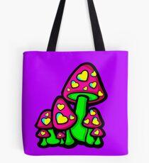 Heart Love Mushrooms Pink and Green  Tote Bag