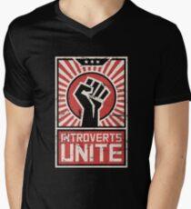 Propaganda Poster | Introverts Unite Men's V-Neck T-Shirt