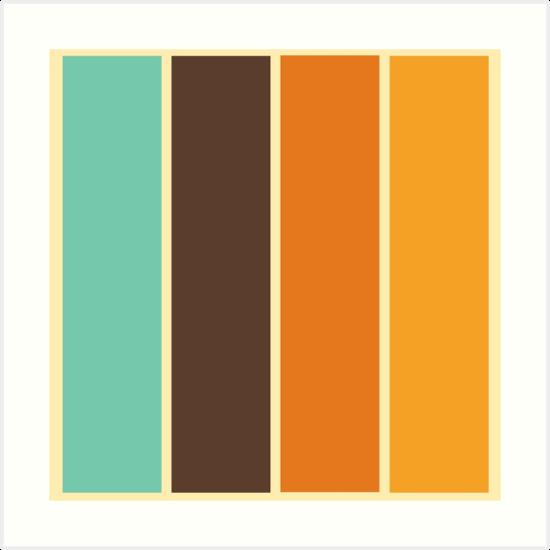 1970 39 s color palette retro stripe pattern art prints by. Black Bedroom Furniture Sets. Home Design Ideas