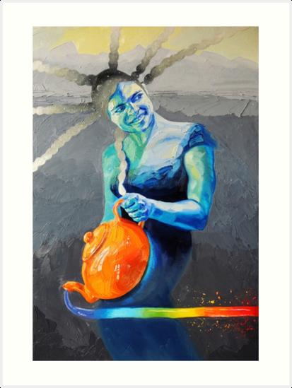 Heal with Rainbow Tea (self portrait) by BlueStarseed