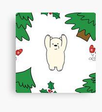 Cutie xmas teddy white  Canvas Print