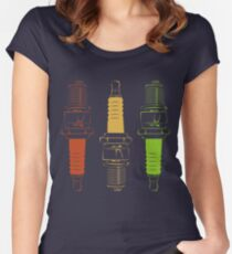 Spark Plugs Traffic Light Colours Women's Fitted Scoop T-Shirt