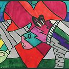 Rhinos in Love by Ocean by Crayons Markers and Paint