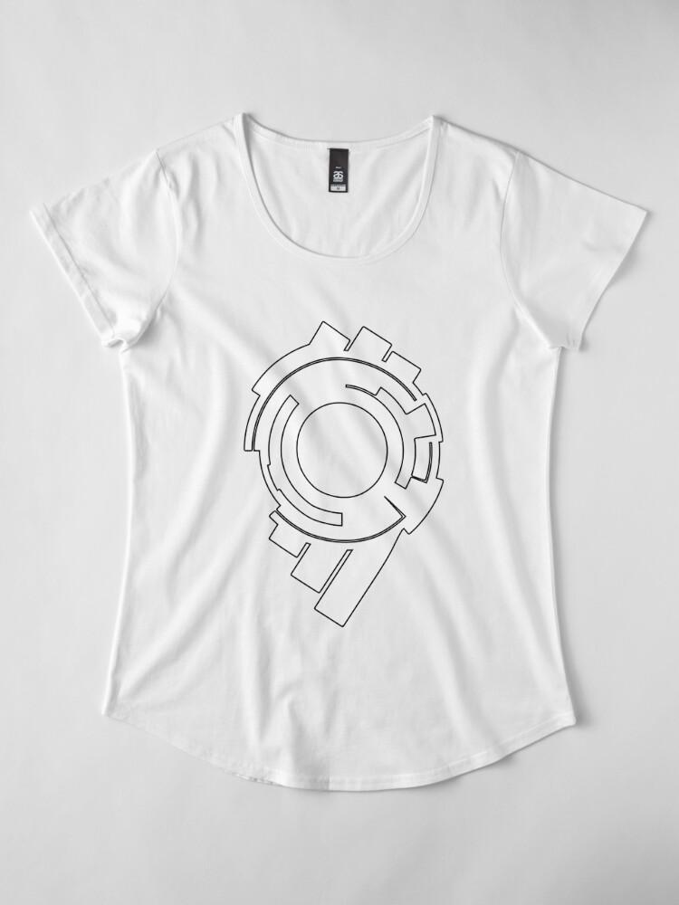 Vista alternativa de Camiseta premium de cuello ancho Fantasma en el caparazón: logotipo de la sección de seguridad pública 9 (logotipo blanco)