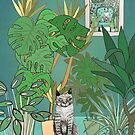 Cat in the plants by Bronia Sawyer