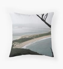 Mountain View of Port Stephens: In the Rain Throw Pillow