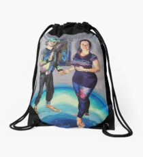 Humans in the Visionary Age Drawstring Bag