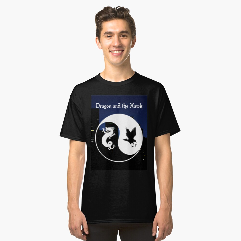 Dragon and the Hawk Cityscape Classic T-Shirt Front