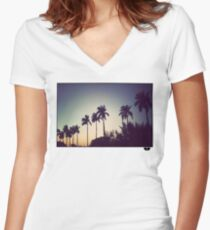 florida palms Women's Fitted V-Neck T-Shirt
