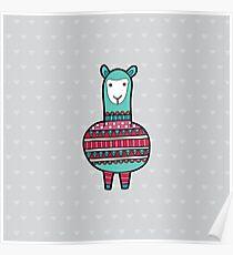 Doodle Alpaca Green Poster