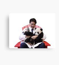Justin Trudeau Pandas Canvas Print