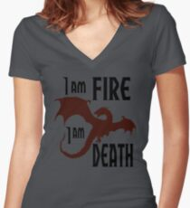 Fire & Death Women's Fitted V-Neck T-Shirt