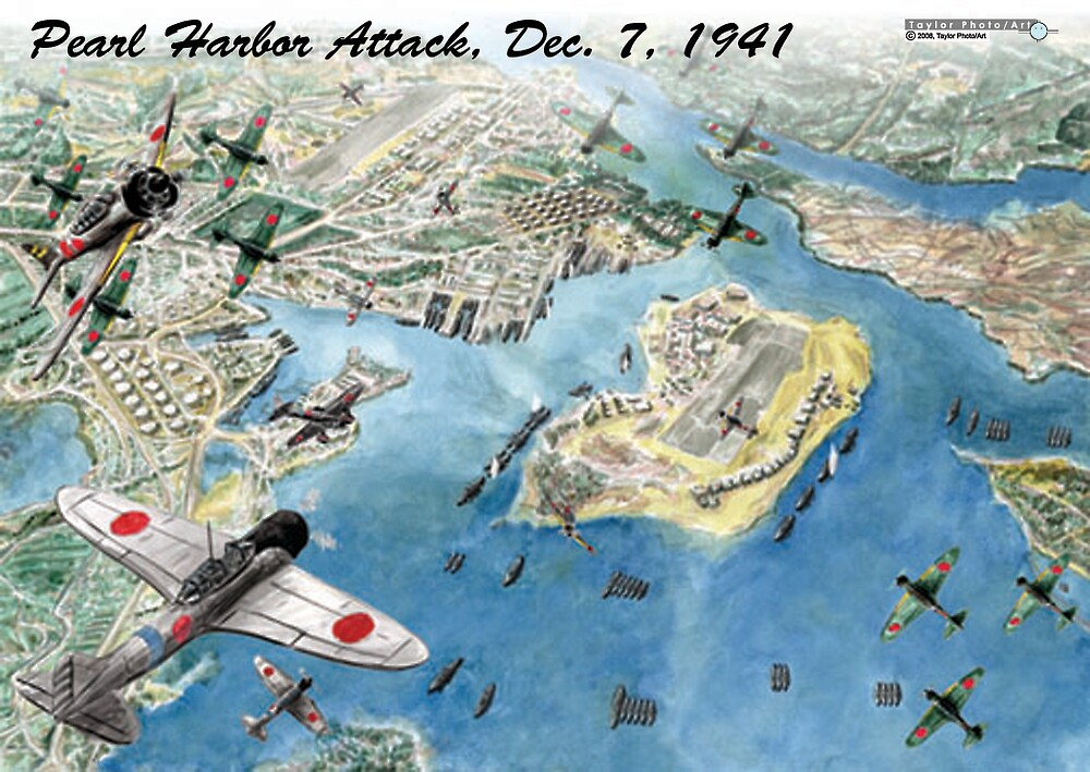 Attack on Pearl Harbor, Dec. 7 1941 by Greg Kolio Taylor