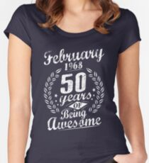 February 50th Bday 1968 50 Years Of Being Awesome Women's Fitted Scoop T-Shirt