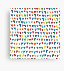 Watercolor pattern with bright colorful hearts Canvas Print