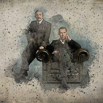 Sherlock & Dr Watson - watercolour and ink by Joey27