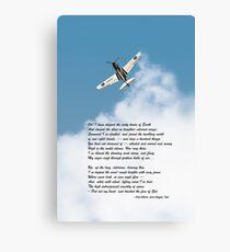 Silver P-40 High Flight poem Canvas Print