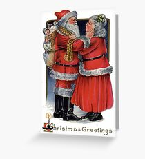Vintage Christmas Greetings from Mr and Mrs Claus Greeting Card